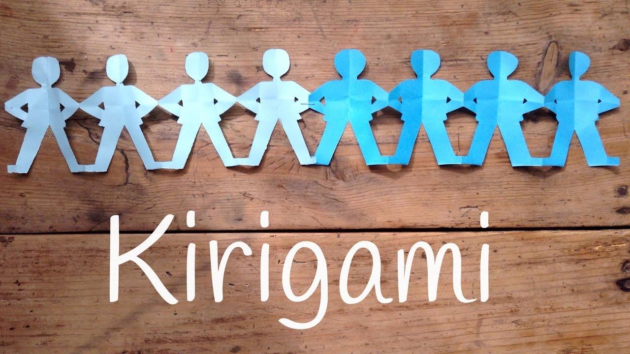 Guirnaldas de papel de hombrecitos | Kirigami fácil para niños - YouTube