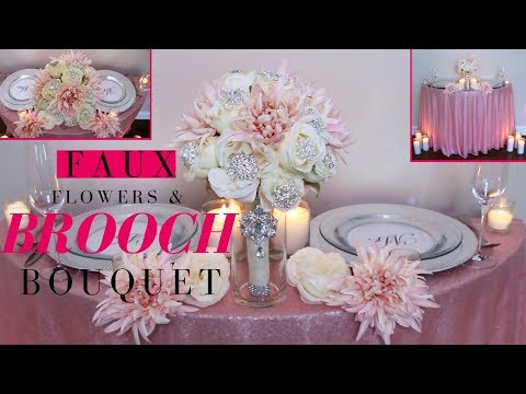 Faux Flowers & Brooch Wedding Bouquet | DIY Brooch Wedding Bouquet tutorial