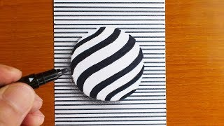 How To Draw 3D Sphere - Optical Illusion - Floating PEPSI logo-ish 3D Ball Trick Art on paper