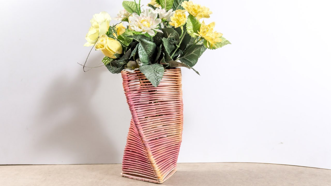 DIY Flower Vase - Popsicle Stick Crafts Ideas for Home decor - YouTube