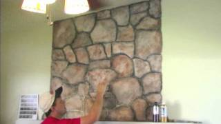 How to mud on a faux stone and wood grain look Randy Miller