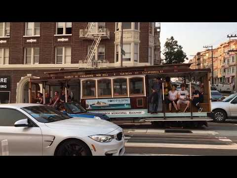 California Street Cable Car 51 @ California St & Hyde St San Francisco California (Slow Motion)