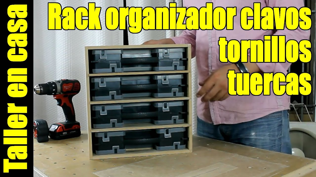 Rack para organizadores de clavos tornillos pernos for Como hacer un perchero de pared
