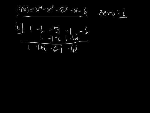 Synthetic Division W Imaginary Numbers