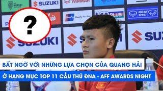Ngỡ ngàng với những lựa chọn của Quang Hải cho các hạng mục trao thưởng tại AFF Awards Night 2019