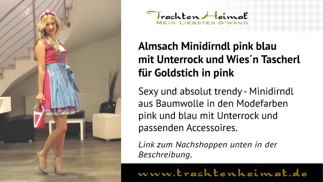 e8e1b6de98b5d TrachtenHeimat - Almsach Minidirndl pink blau mit Unterrock und Wies´n  Tascherl für Goldstich