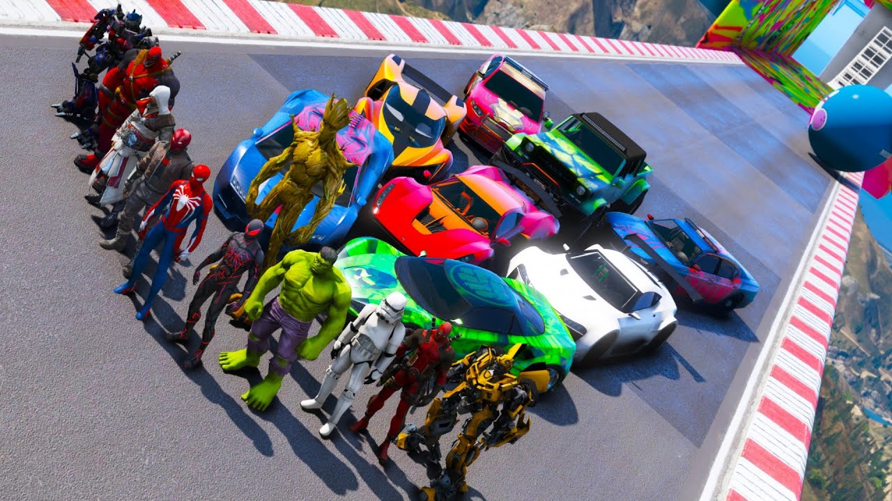 Relay race challenge SpiderMan Hulk GTA V mods Superhero Cars Deadpool Sssassin's Transformers Groot