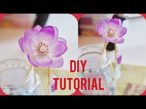 DIY Tutorial - Chinese Hair Accessories Water Lily Hair Stick Hair Pins 荷花簪