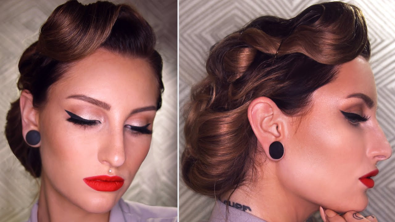50s pin up hairstyles : EASY 50s INSPIRED VINTAGE UPDO HAIRSTYLE TUTORIAL - YouTube