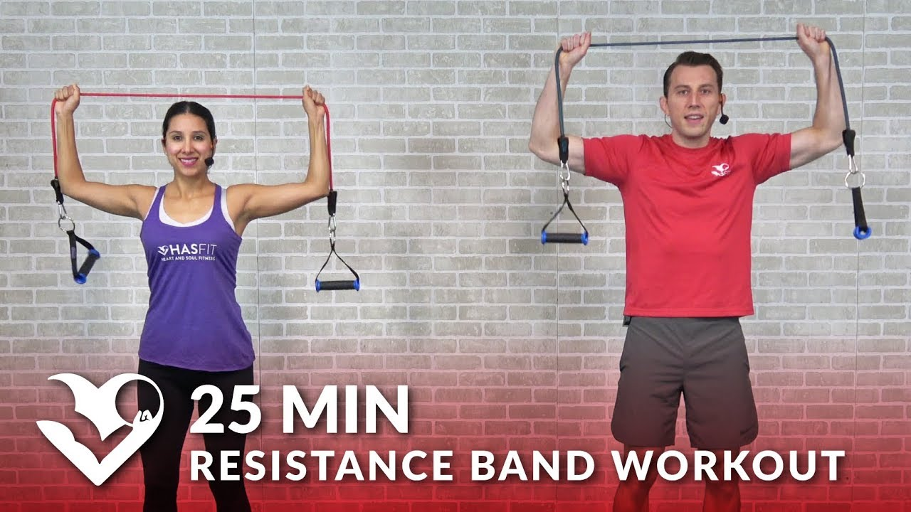 25 Min Full Body Resistance Band Workout for Women & Men - Elastic Exercise Band Workouts Training