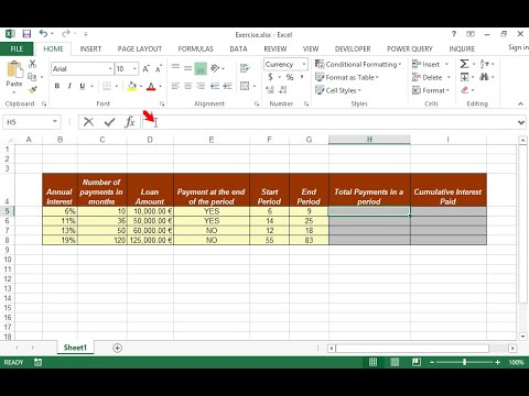 On the sheet's table, we can see the data of 4 loans. Calculate in column H the total payments...