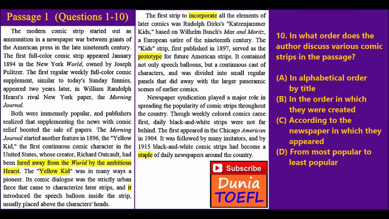 Full Toefl Itp Pbt Reading Test 39 With Answer Key Youtube Toefl itp reading comprehension