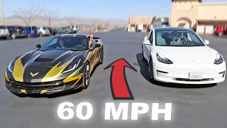 Racing supercars in Reverse! (Corvette vs Tesla)