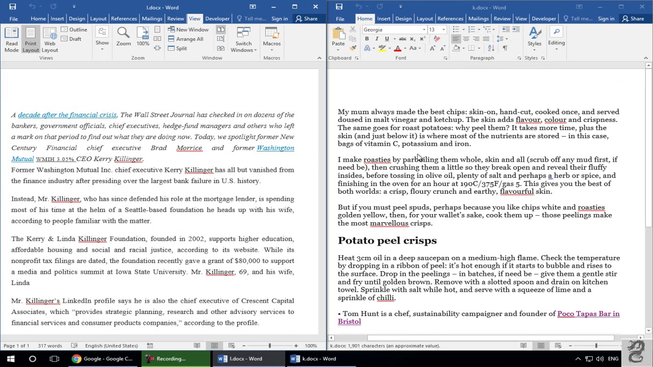 How to View Two Documents Side-by-Side in Word