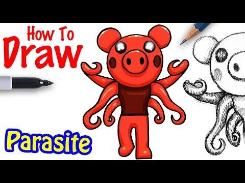 How To Draw Parasite Roblox Piggy Youtube