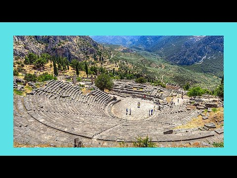 GREECE: DELPHI (Δελφοί), the ancient THEATER and the TEMPLE of APOLLO