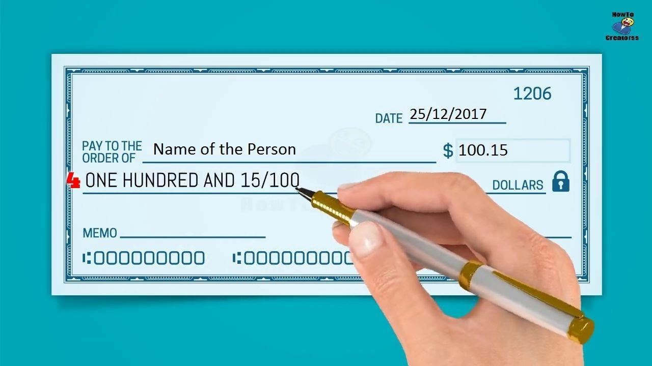 How To Write A Check Step By Instructions Writing Dollars And Cents On Checks