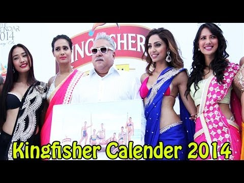 Vijay Mallya With Models Launched Kingfisher Calender 2014