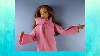 Как сшить пальто для куклы.(Одежда для кукол своими руками. Необходимые материалы: трикотажная ткань, нитки, иголка. Сделать такой..., 2016-05-06T16:39:41.000Z)