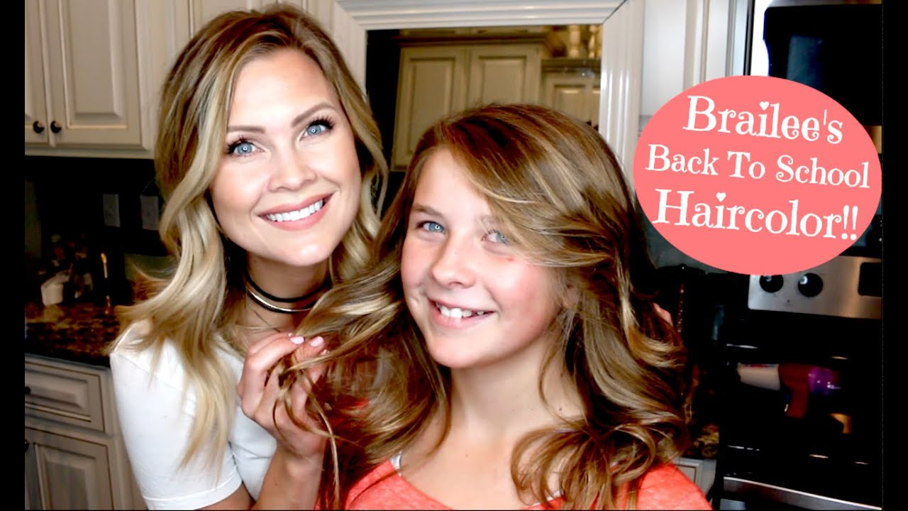 Natural Ombre Haircolor!! Brailee\'s Back To School Haircolor!! - YouTube