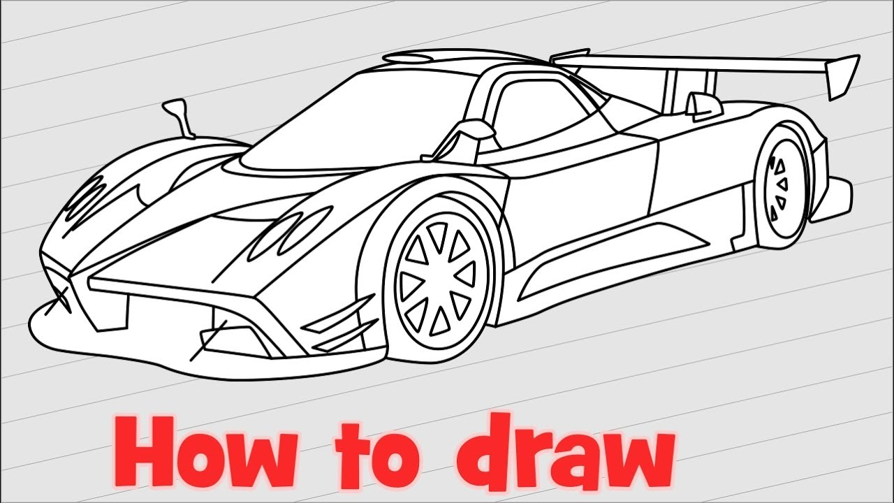 Drawing Lines R : How to draw a car pagani zonda r step by youtube