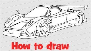 How to draw a car Pagani Zonda R step by step
