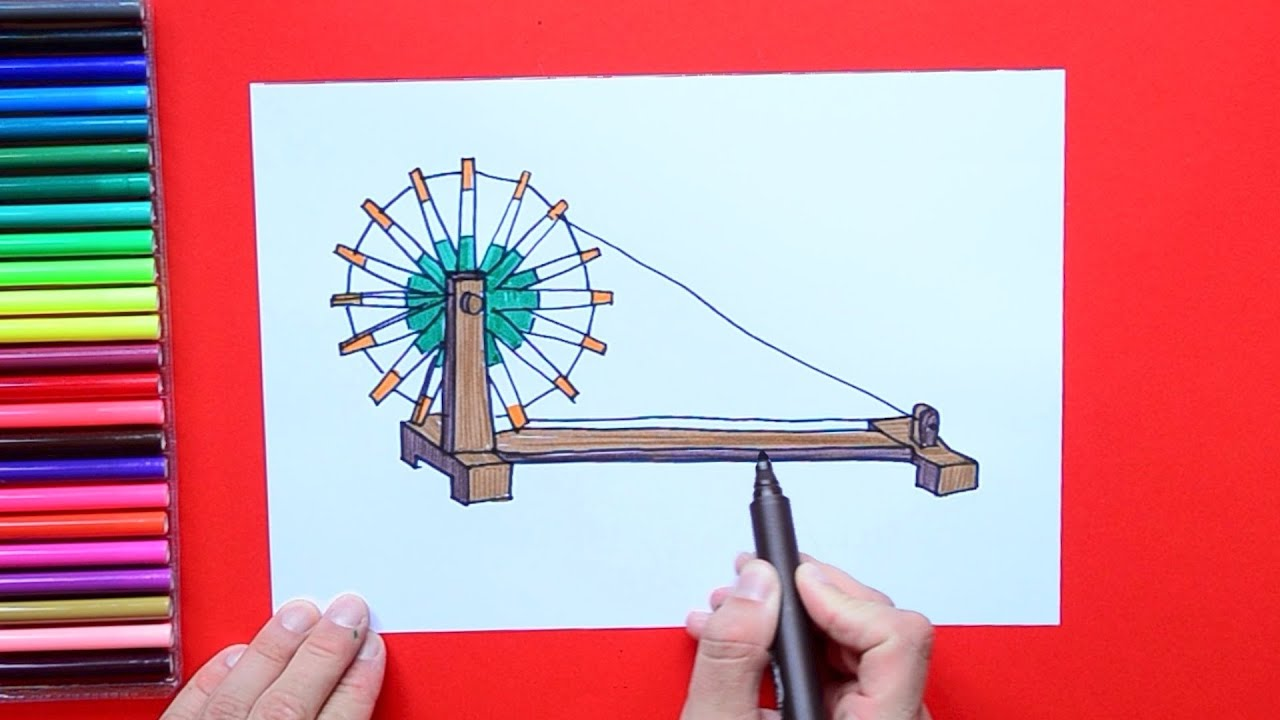 How to draw Charkha or Spinning Wheel
