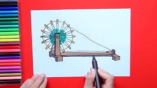 How to draw and color Charkha or Spinning Wheel in India Flag Colors