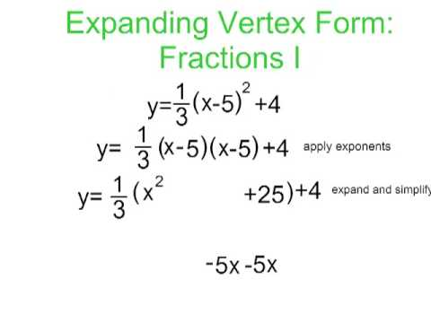 Converting Vertex to Standard Form With Fractions - YouTube