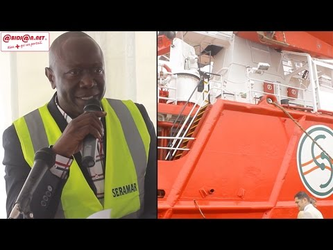 Cérémonie de réception du navire Offshore AHTS de SERAMAR, le DG présente les atouts du navire