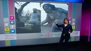 بي_بي_سي_ترندينغ   رجل ملتح يحاول تحطيم تمثال #عين_الفوارة في #الجزائر