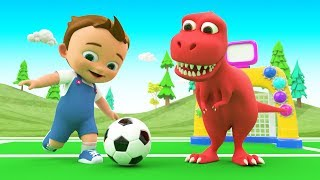 Little Baby Fun Play Soccer with Dinosaur Learning Colors for Children Color Balls 3D Kids Education