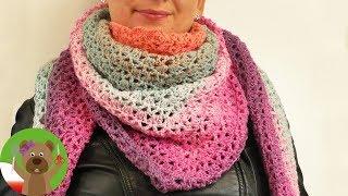 Chusta trójkątna XXL na szydełku | DIY kolorowy szal na zimę