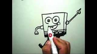 How to draw SpongeBob SquarePants (Cara Mengambar SpongeBob)