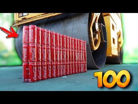 ЭКСПЕРИМЕНТ: ДОРОЖНЫЙ КАТОК ПРОТИВ 100 БАНОК КОКА-КОЛЫ + ПОДСКОЛЬЗНЁТСЯ НА БАНАНАХ..?