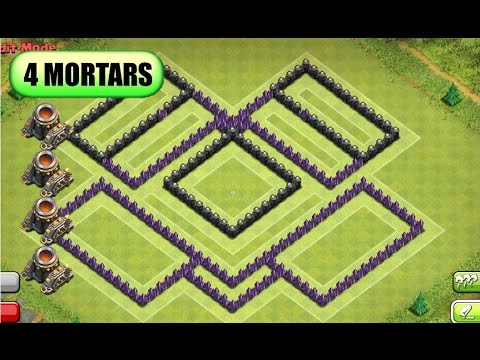 Of clans th8 trophy war base replay southern teaser 4 2014 4 mortars