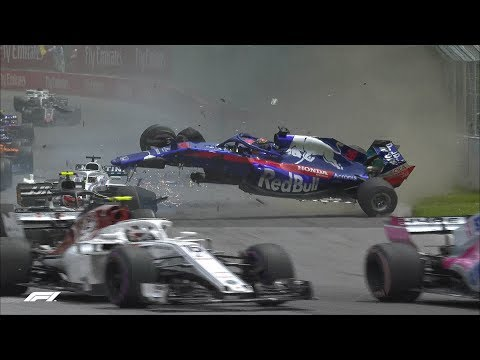 Hartley and Stroll's First Lap Smash   2018 Canadian Grand Prix