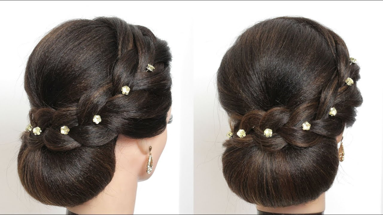 Simple Bun Updo Hairstyle For Long Hair Tutorial Youtube