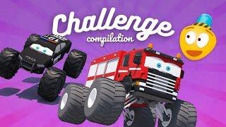 Monster Trucks for Kids | Fire Truck, Police Car, Tow Truck | Car Challenge 3d | Kids Video