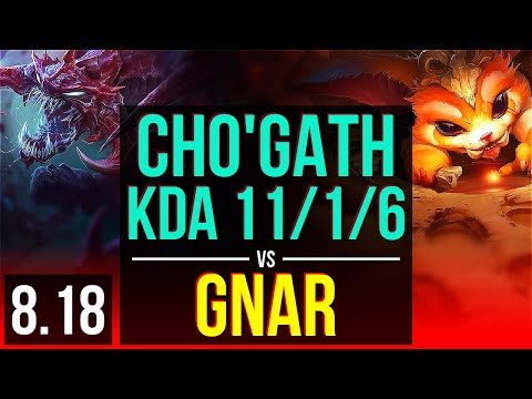 CHOGATH vs GNAR TOP  KDA 1116, Legendary  Korea Diamond  v818