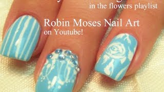 White Roses and stripes on Light blue | Chic Antique Nail Art design tutorial