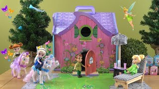 Little Anna and Elsa Visit Tinker Bell and Peter Pen Fairy House with Fun Squishy Surprise Snacks