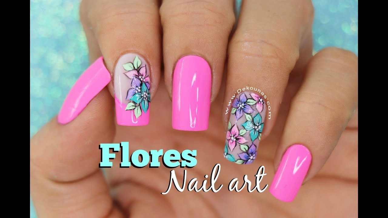 Dise o de u as flores facil deko u as easy flower nail - Decoracion de unas colombianas ...