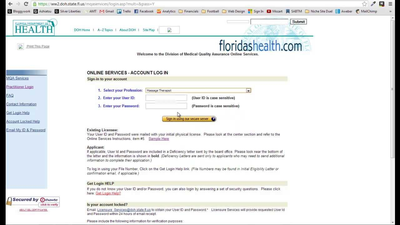Online License Renewal Florida Massage Therapists Youtube