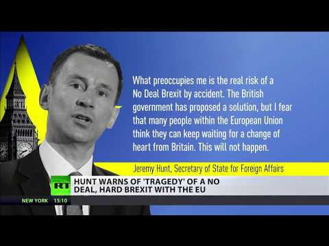 Hunt warns of tragedy of a no deal, hard Brexit with the EU