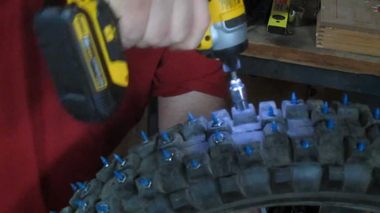 Studded Winter Tires >> studding a dirt bike tire for ice and snow - YouTube