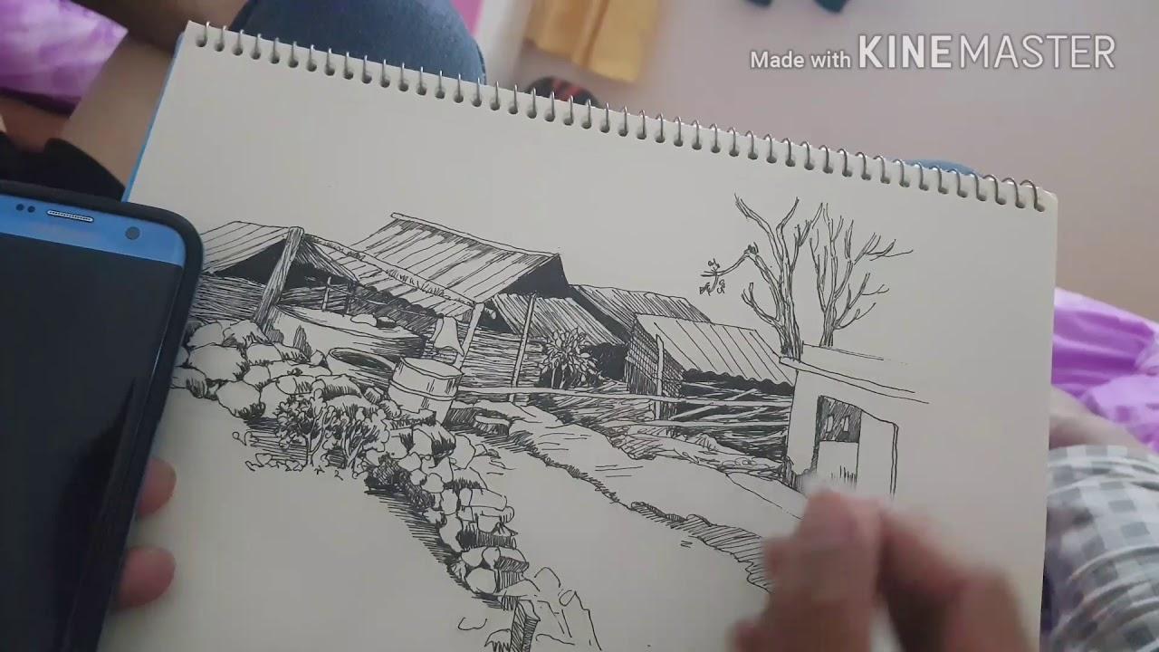 Vlogs ||Ký họa phong cảnh tây bắc bằng bút bi.