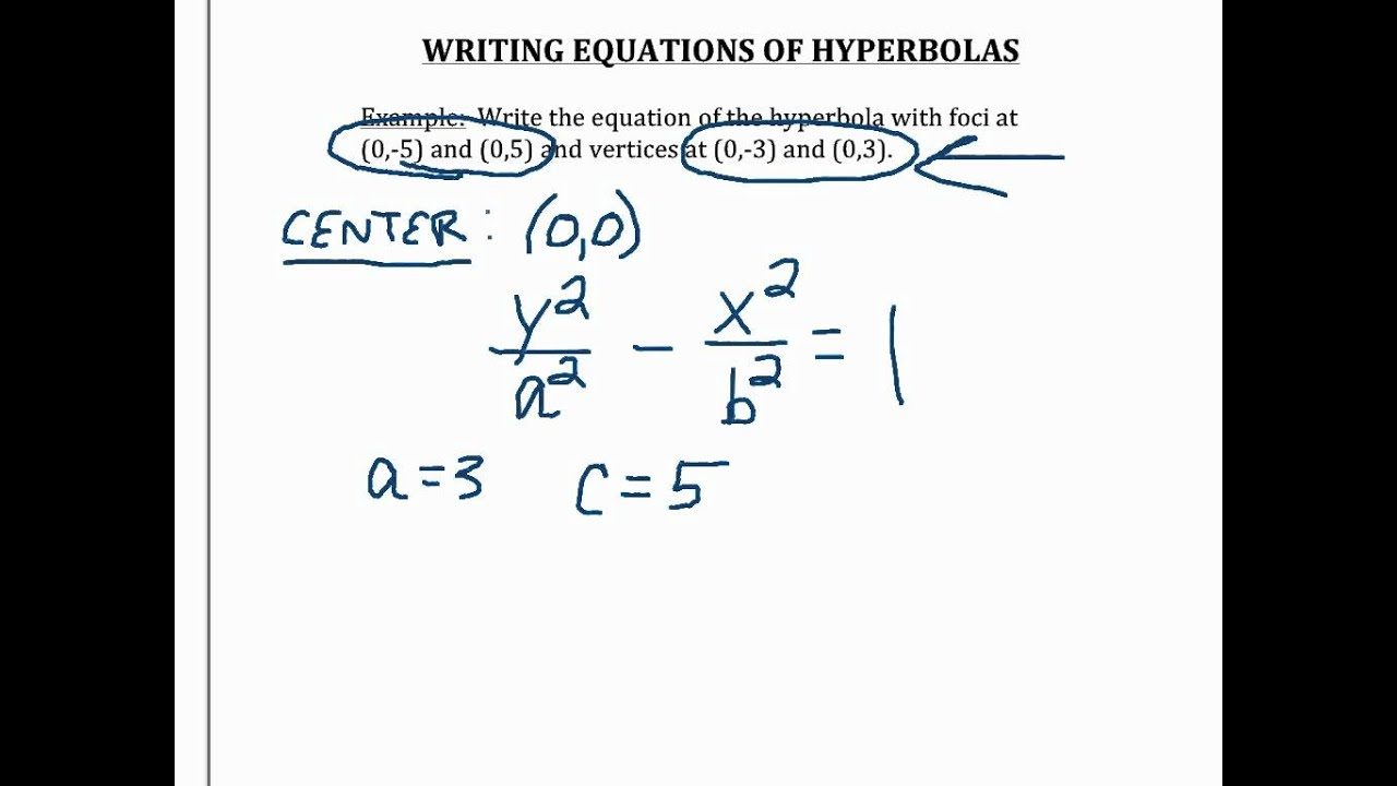 how to find vertex of hyperbola given general