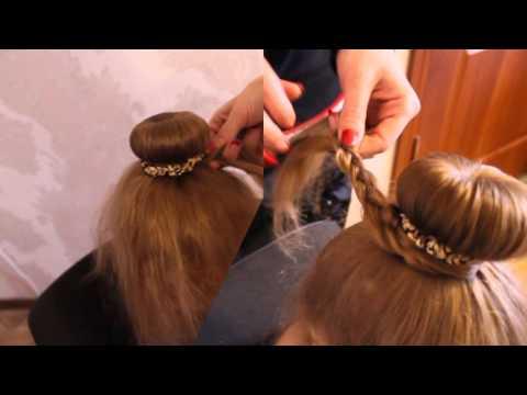Шишка с бубликом и косичкой. Прическа для гимнастики и танцев. Плетение кос.