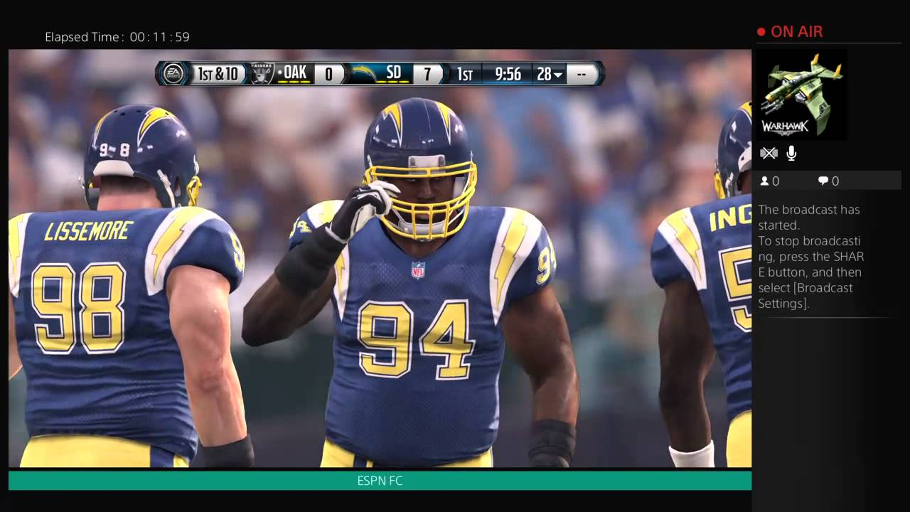 Madden 16 Oakland Raiders Vs San Diego Chargers Throwback